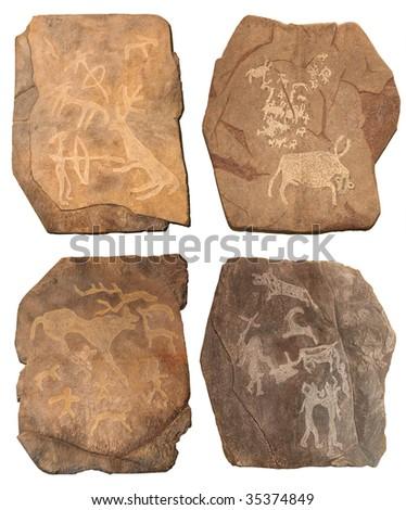 Petroglyphe. Bronze age - stock photo