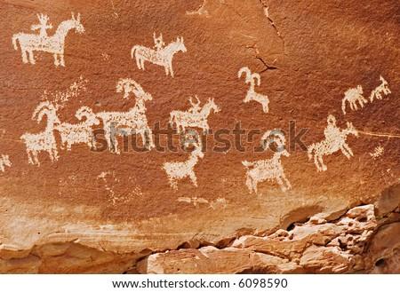Petroglyphs, Arches National Park - stock photo