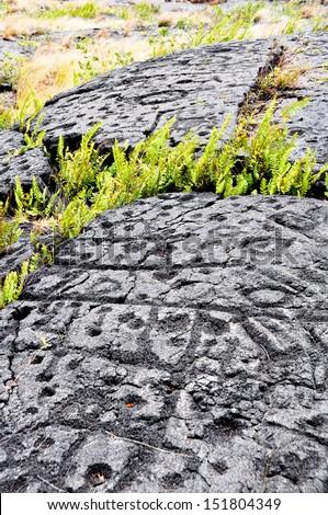 Petroglyphs, Hawaii Volcanoes National Park (USA) - stock photo