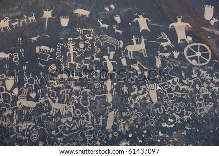 Petroglyphs on newspaper rock in Canyonlands national park, Utah, USA - stock photo