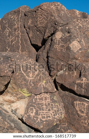 Petroglyphs on the stone in Mojave National Preserve - stock photo