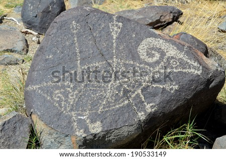 Petroglyphs on the stone in petroglyphs National Preserve - stock photo