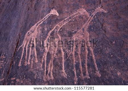 Petroglyphs, Tassili n'Ajjer, Sahara desert - stock photo