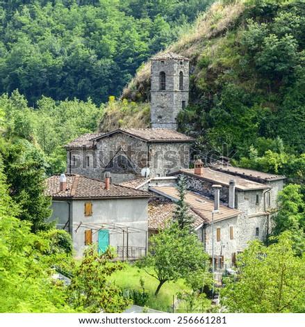 Petrognano (Lucca, Tuscany, Italy), old village in Garfagnana at summer - stock photo