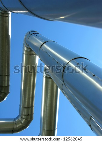 petrol pipelines going to customers - stock photo