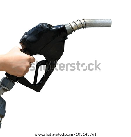 Petrol pump filling isolated against white background. selective focus. - stock photo