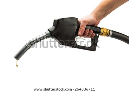 petrol pump nozzle with drop of gas isolated on white background - stock photo