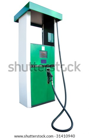 petrol pump under the white background - stock photo
