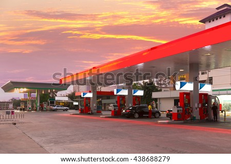Petrol station and Gas station at sunset.  - stock photo