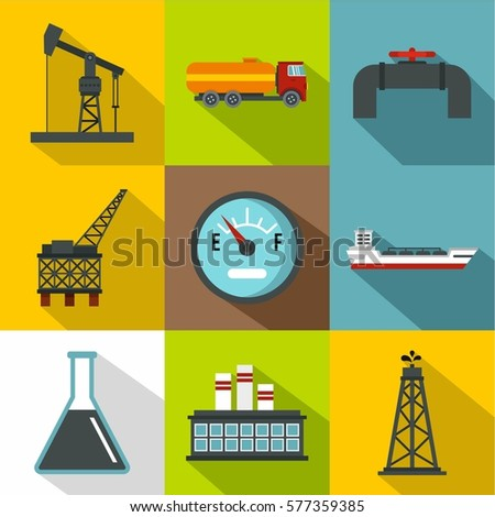 Petroleum icons set. Flat illustration of 9 petroleum  icons for web