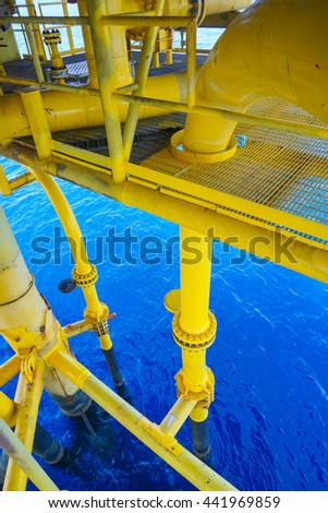 Petroleum Oil and Gas Pipeline on the sea background in Petroleum offshore wellhead remote platform, Energy and petroleum industry, Oil and gas or Petroleum industry is major of the world. - stock photo