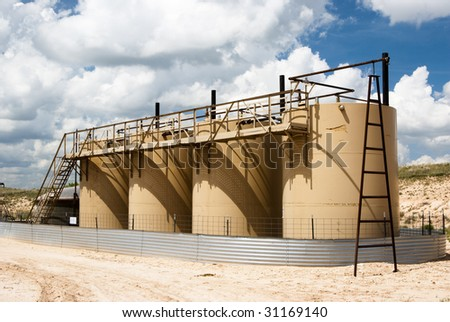 petroleum storage tanks in a gas field in Texas
