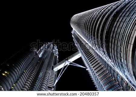 petronas towers at night - stock photo