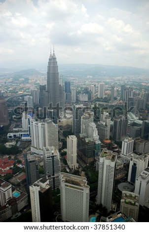 Petronas Towers viewed from KL Tower - stock photo
