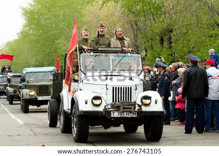 Petropavlovsk, Kazakhstan - MAY 9:The parade of cars in honor the 70th anniversary of the Victory. May 9, 2015 in Petropavlovsk, Kazakhstan