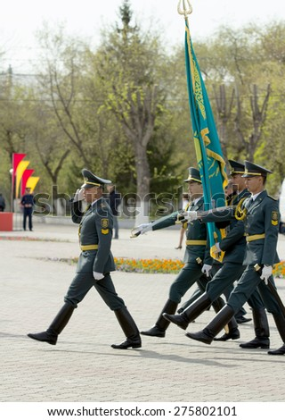 """PETROPAVLOVSK MAY 7: Public holiday """"Day of the Armed Forces of Kazakhstan"""" May 7, 2015, Kazakhstan,  soldiers and military. - stock photo"""