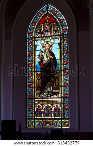 PETROPOLIS, RIO DE JANEIRO / BRAZIL - July 30, 2015 : stained glass window Jesus - symbol of Christianity - Church of the Sacred Heart of Jesus - Imperial City of Petropolis - stock photo
