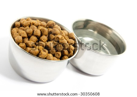 Pets forage over white background - stock photo