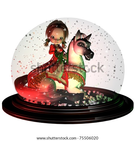 Petunia Christmas cute girl dressed in Christmas gown with pets in snowglobe - stock photo