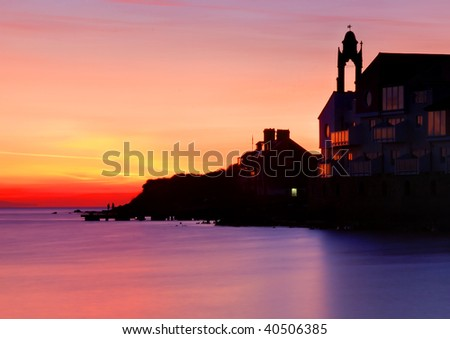 Peveril Point, Swanage, Dorset at sunrise. - stock photo