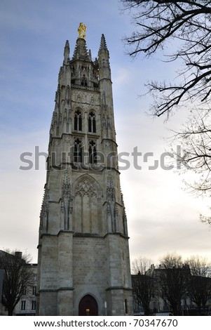 Pey-Berland bell tower, next to Saint Andr�© Cathedral, Bordeaux, France - stock photo