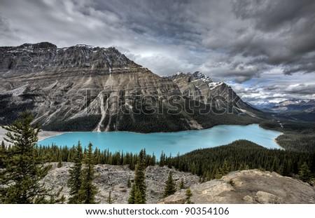 Peyto Lake Alberta Canada emerald green color - stock photo