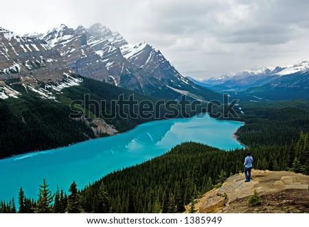 Peyto lake at spring, Banff National park, Canada - stock photo