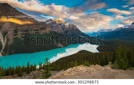Peyto Lake at sunrise. Banff National Park, Alberta, Canada - stock photo