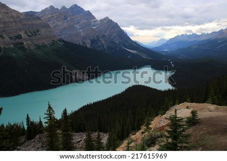 Peyto Lake at sunset, Banff National Park, Alberta, Canada - stock photo