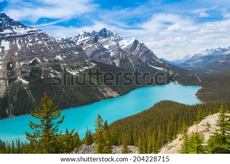Peyto Lake in Banff National Park, Alberta, Canada - stock photo