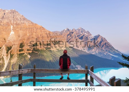 Peyto Lake in Banff National Park, Canada - stock photo