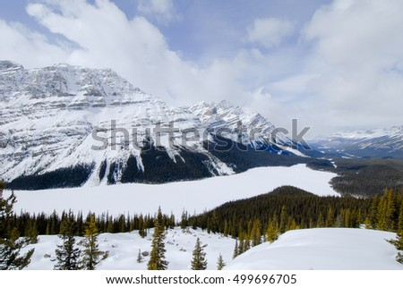 Peyto Lake in Winter, Canadian Rockies, Alberta, Canada