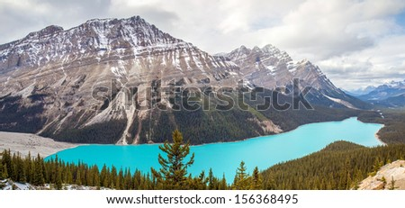 Peyto Lake panoramic - stock photo