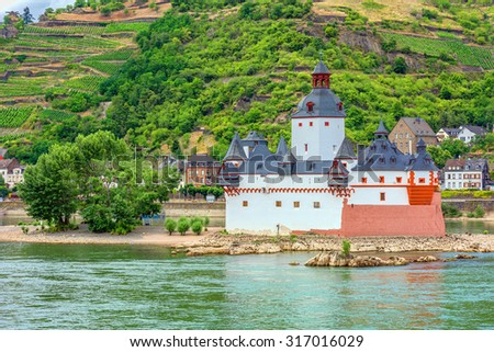 Pfalzgrafenstein Castle in the Rhine River at Kaub, Germany.  - stock photo