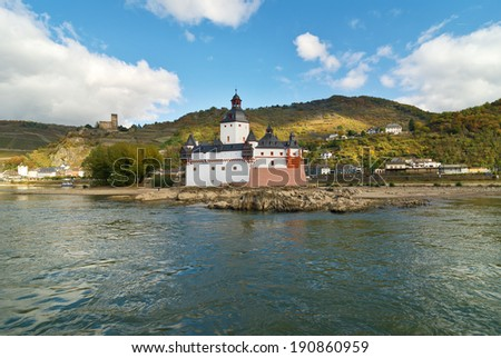 Pfalzgrafenstein Castle on an island in the Rhine River at Kaub, Germany. UNESCO site. - stock photo