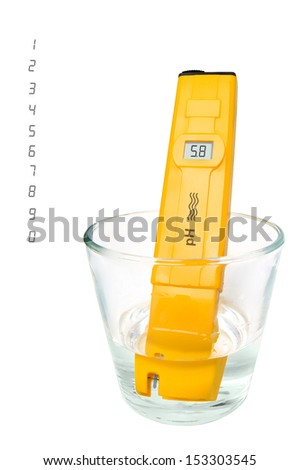 pH meter with set of digits, isolated on a white background.