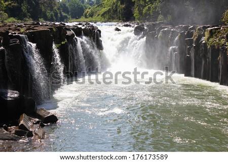 Pha Suam waterfalls in Laos - stock photo