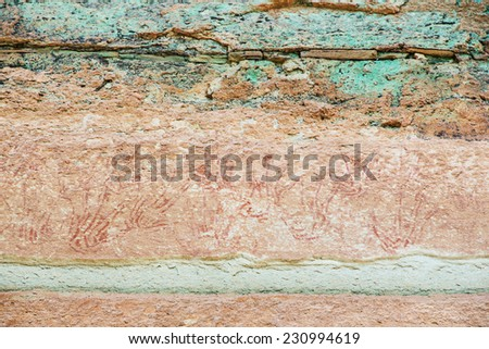Pha Taem National Park Thailand ancient paintings. - stock photo