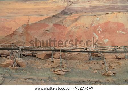 Pha Taem National Park Thailand ancient paintings. - stock photo