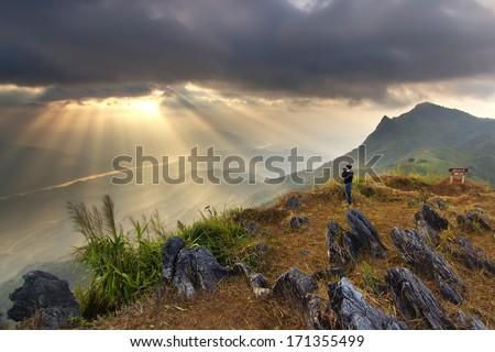 Pha Tung Mountain , Chiang Rai , Thailand - stock photo