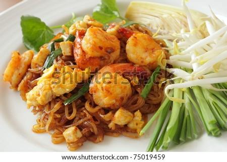 Phad Thai (Stir Fried Noodle with Shrimp) - stock photo