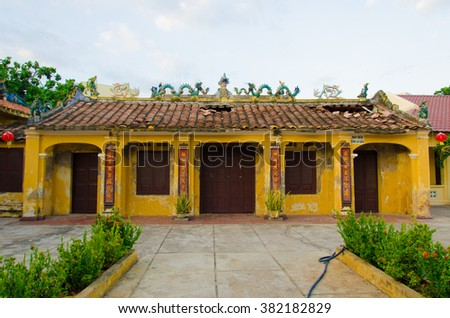 PHAN THIET, VIETNAM- FEB 12, 2016 : A typical chinese temple at Phan Thiet city. There are many chinese live in Phan Thiet city.  Vietnam, Feb 12, 2016