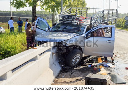 PHANG NGA, THAILAND - JUNE 27 : Car accident on the road and crashed into a concrete bridge which causing the driver serious injury. june 27, 2014 in phang nag thailand.