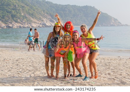 PHANGAN, THAILAND - JANUARY 5, 2015 :Unidentified people participate in the Full Moon party on island Koh Phangan. The event now attracts anywhere from 40,000 party-goers on a normal month