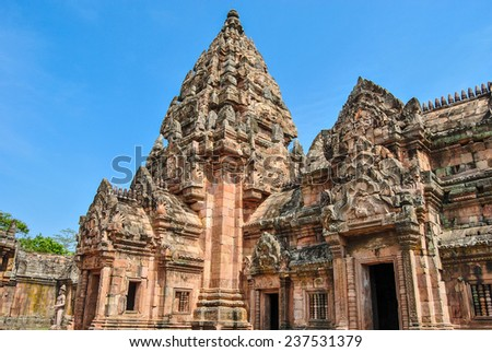 Phanom Rung castle historical park,Ancient temple and monument in Thailand, Buriram province - stock photo