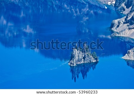 Phantom Ship Island, Crater Lake, Oregon, U.S.A. - stock photo