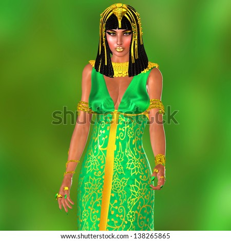 Pharaoh's Wife. She was the wife of Ramses the great. She was the fabled queen who once ruled the very heart of Moses,the prophet who freed the Israelites from the brazen hands of all mighty Egypt. - stock photo