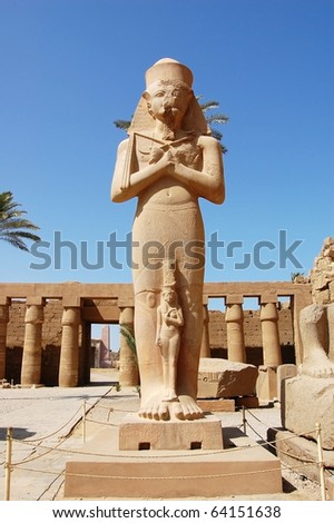 Pharaoh statue at Karnak Temple in Egypt. - stock photo