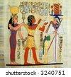 Pharaon and gods, old    papyrus - stock photo
