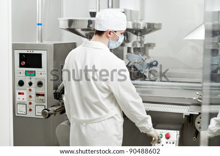 pharmaceutical factory worker at pharmacy industry manufacture